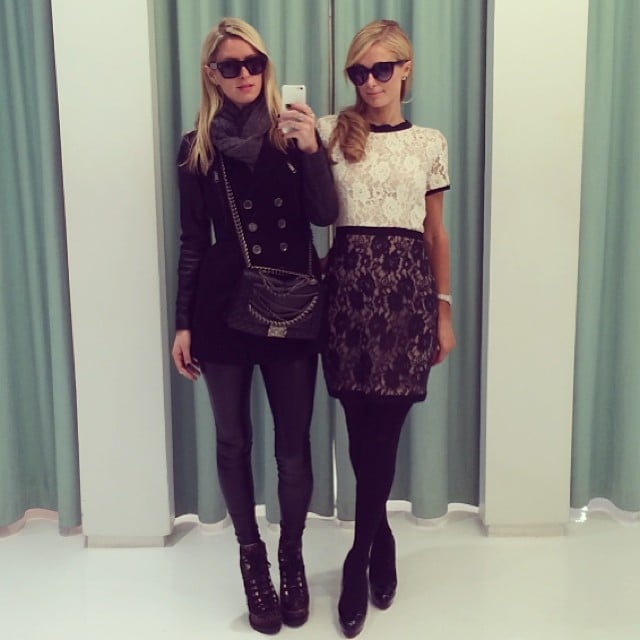 Nicky and Paris Hilton took dressing room selfies during a shopping trip. Source: Instagram user nickyhilton
