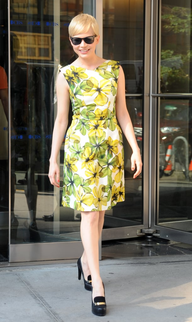 Michelle Williams opted for a sunny yellow Jason Wu dress and Tabitha Simmons For Honor platform loafers for her appearance on the CBS This Morning show to promote Take This Waltz.