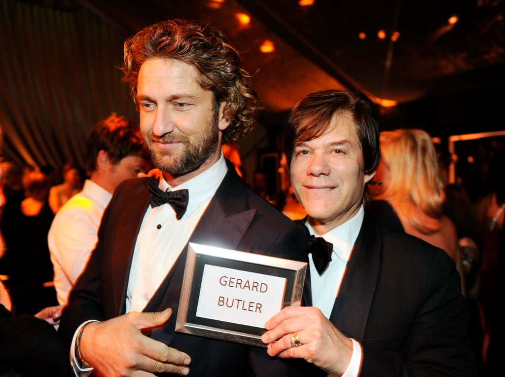 Gerard Butler found his seat at the Weinstein Company's after party.