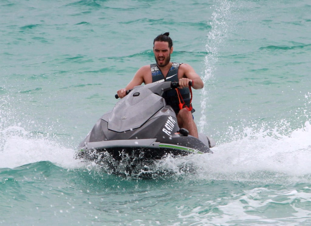 Hot! Russell Brand Throws On Swim Trunks to Take a Jet Ski For a Whirl in Miami