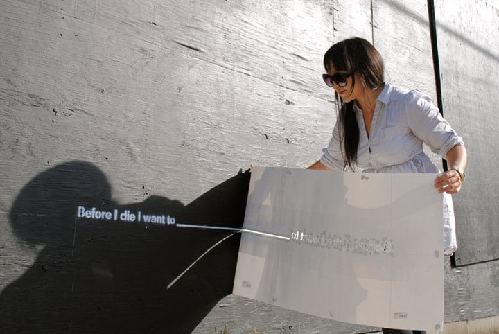 """Artist Candy Chang prepped a """"Before I Die"""" wall. Photo courtesy of BeforeIDie.com"""