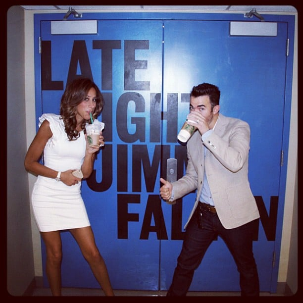 Danielle and Kevin Jonas sipped Starbucks on the set of Late Night With Jimmy Fallon. Source: Instagram user kevinjonas