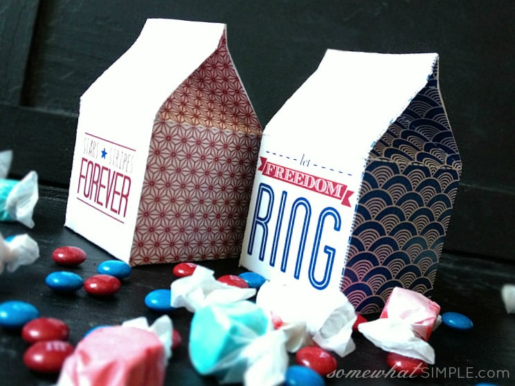 Fourth of July Milk Carton Treat Boxes