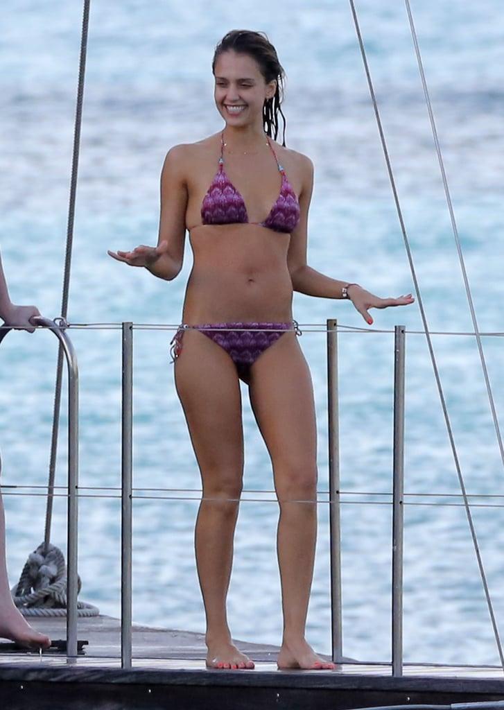 In April 2013, she prepared to dive off a barge in a purple string bikini in St. Barts.