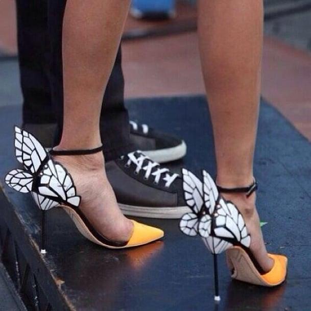 Nina Dobrev's butterfly stilettos set our hearts aflutter. Source: Instagram user ilariaurbinati
