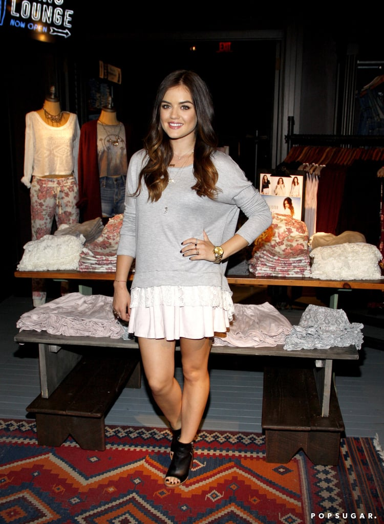 Lucy Hale promoted her new Hollister collection in LA on Saturday.