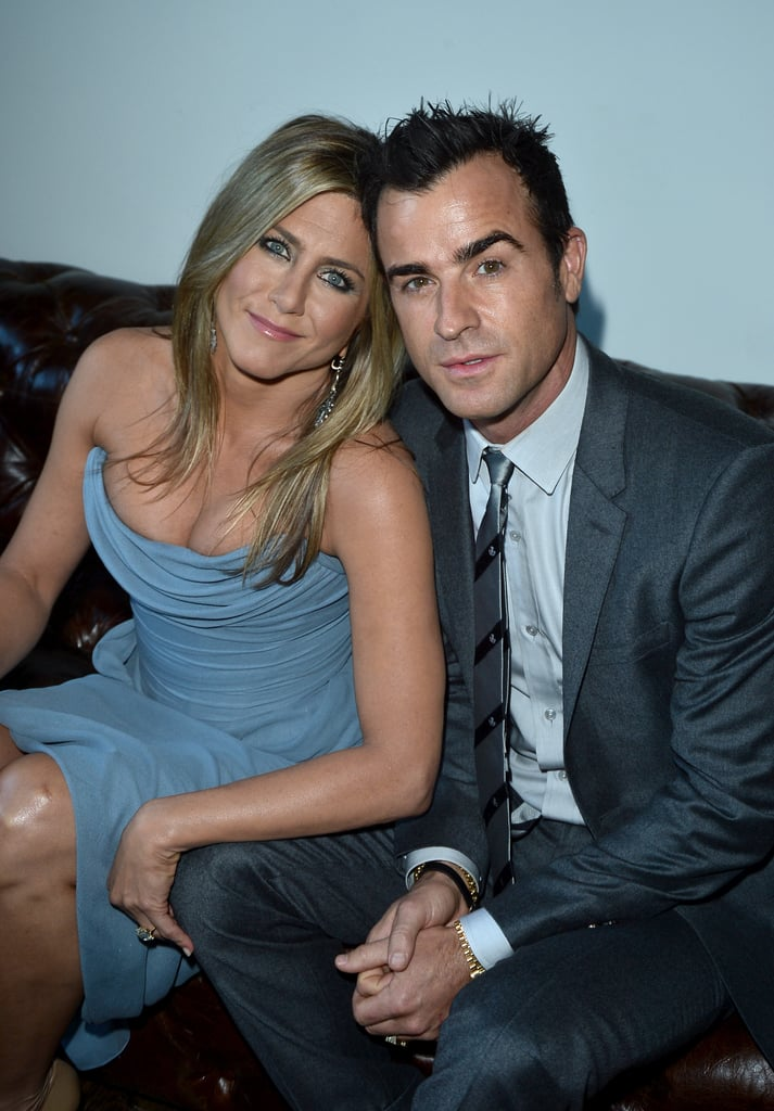 Jennifer Aniston cosied up to her fiancé, Justin Theroux, in Canada.