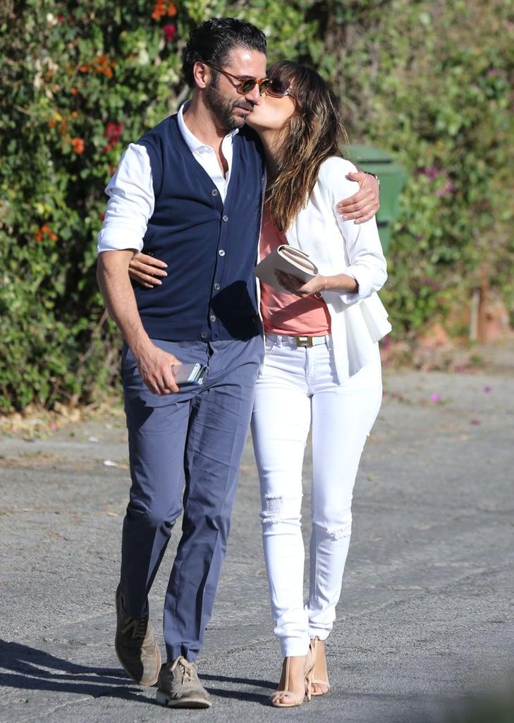 Eva Longoria kissed Jose Antonio Baston during a Sunday lunch date in Santa Monica.