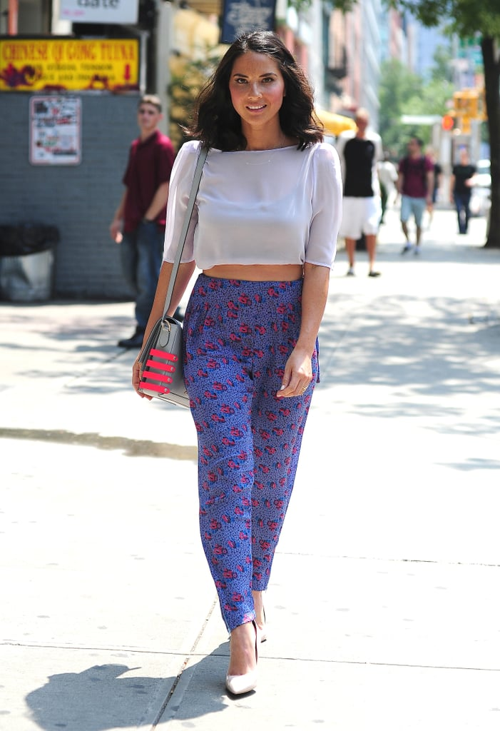 Olivia Munn knows the fastest way to our fashion hearts: pair pajama pants with a supersheer top. How comfy and stylish does this look?