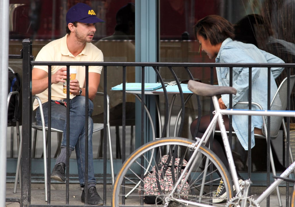 Shia read over his lines with a friend.