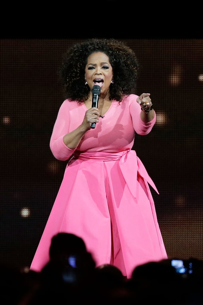 Oprah pointed to the crowd during her Sydney tour stop in December 2015.