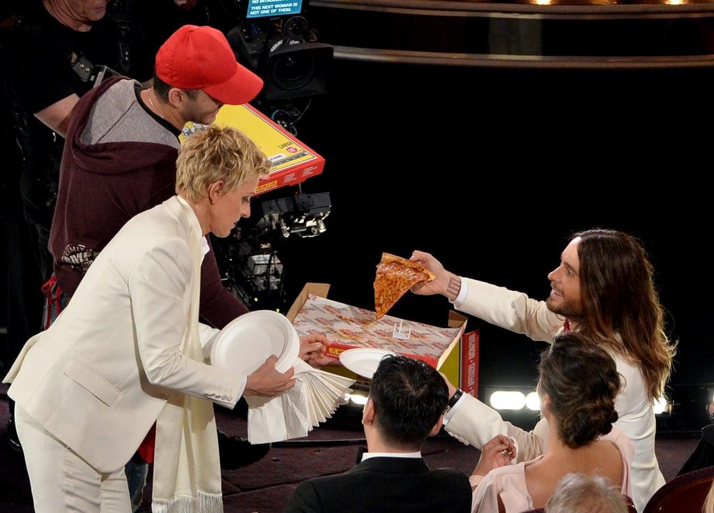 Ellen DeGeneres handed out pizza to Jared Leto.