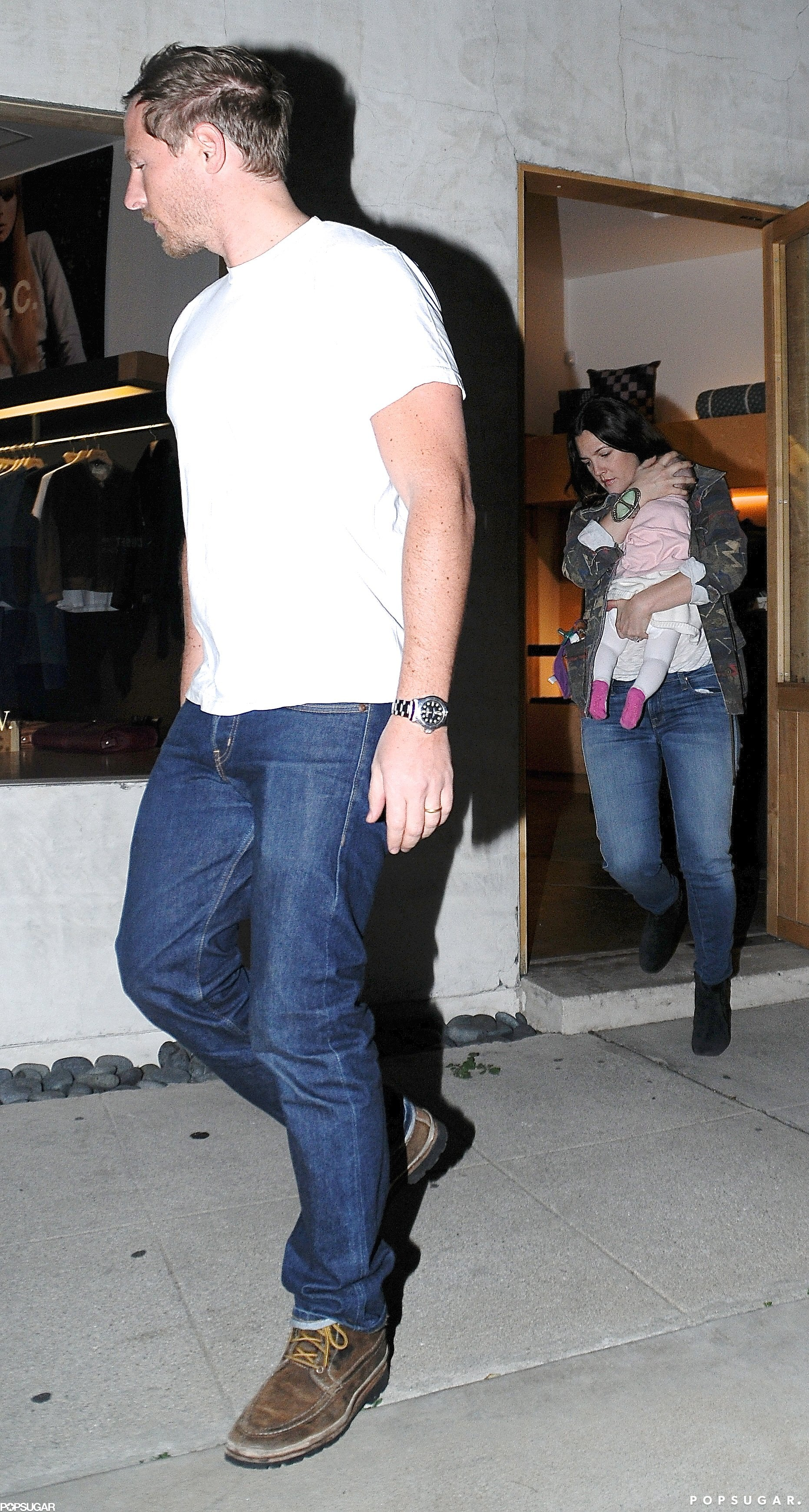 Drew Barrymore and her husband, Will Kopelman, took daughter Olive to the A.P.C. shop in West Hollywood.