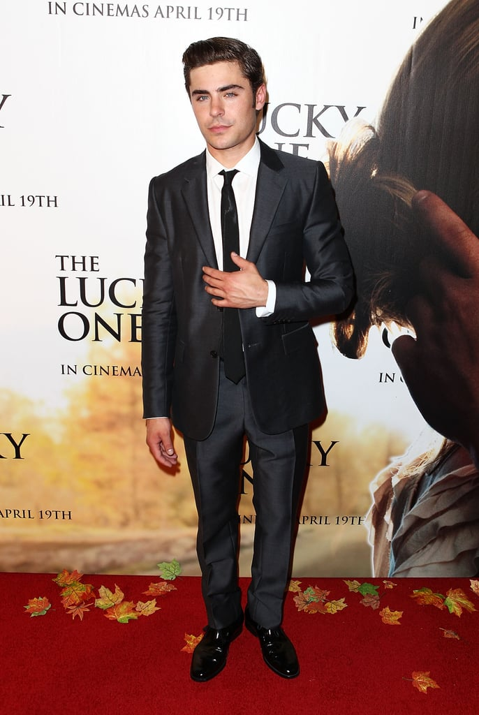 Zac Efron wore a suit and tie to The Lucky One premiere in Melbourne.