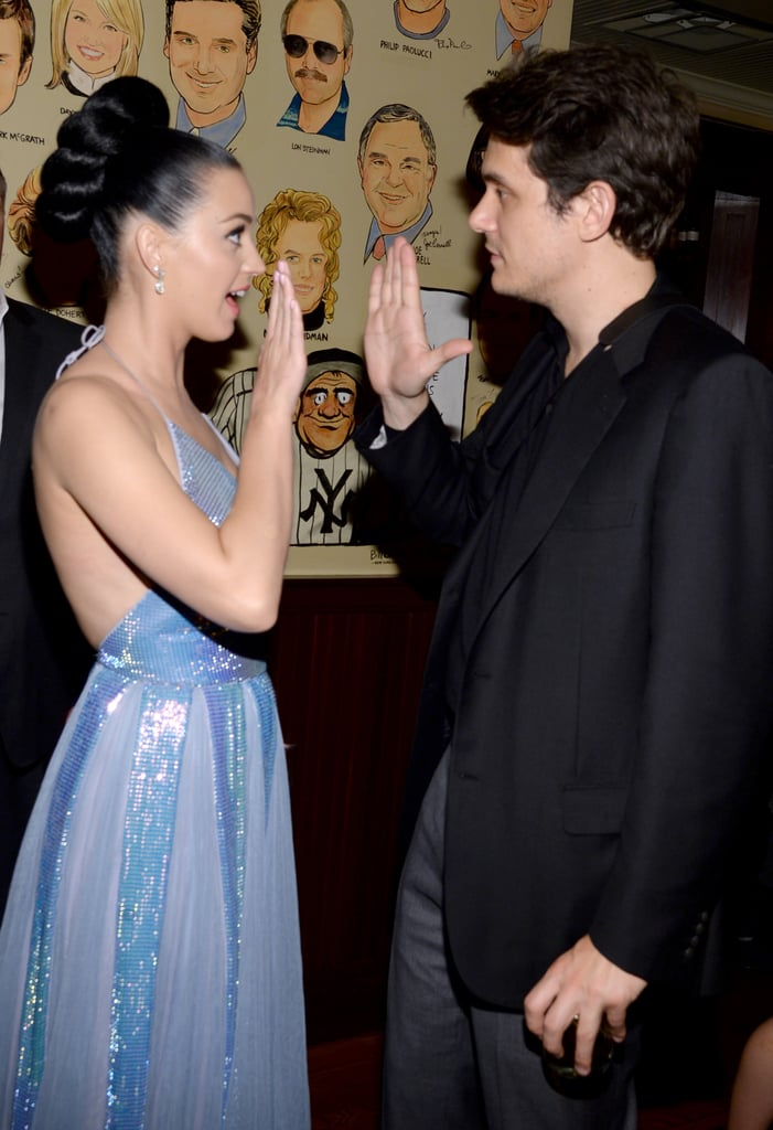 Katy Perry got a high five from John Mayer at the Sony Music bash after the Grammys.