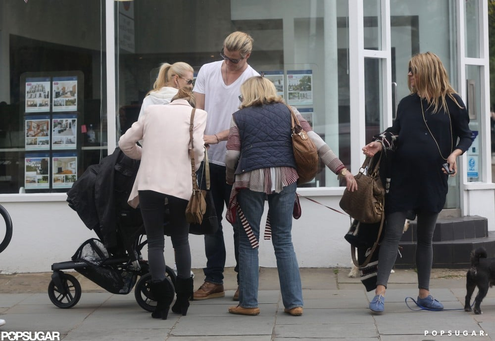 Sienna Miller was walking her dog in LA and ran into Chris Hemsworth and his wife Elsa Pataky pushing baby India around London.