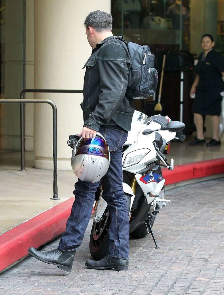 Ben Affleck hopped off of his motorcycle for a meeting.