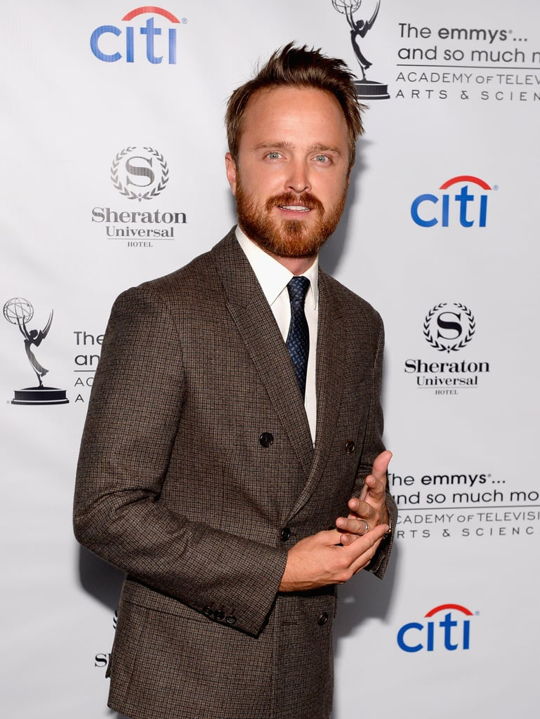 Aaron Paul stepped out for the Emmys cocktail party in LA.