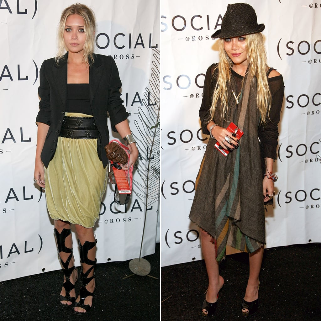 Twinning combo: The blond style-setters played with proportions at a 2007 Hampton Social event.  Ashley belted a ruched velvet skirt under a black blazer, then slipped on a pair of cutout gladiator sandals. Mary-Kate accessorized her long-sleeved minidress with a striped scarf, textured fedora, and patent leather mules.
