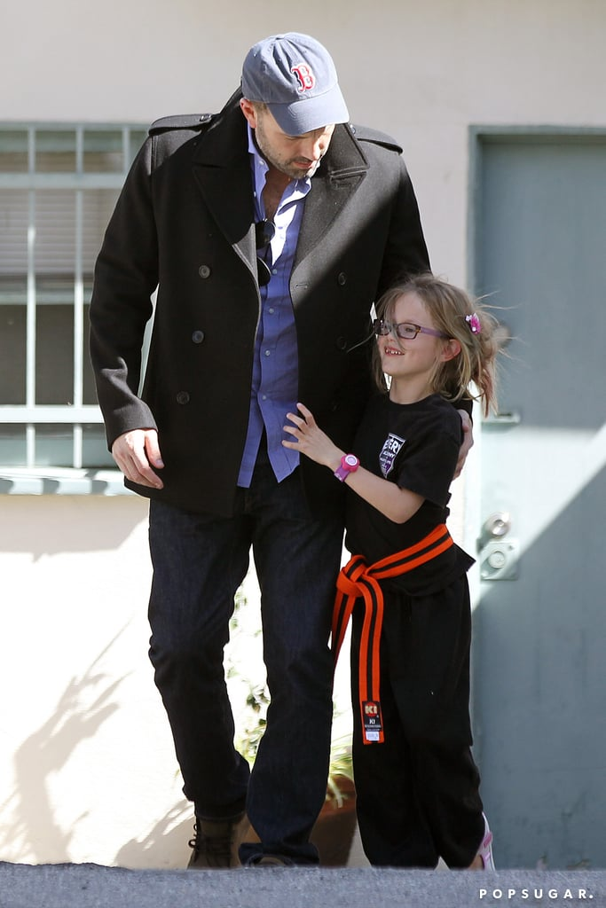 Ben Affleck picked up Violet from karate class.
