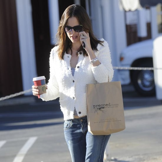 Jennifer Garner Wearing White Cardigan