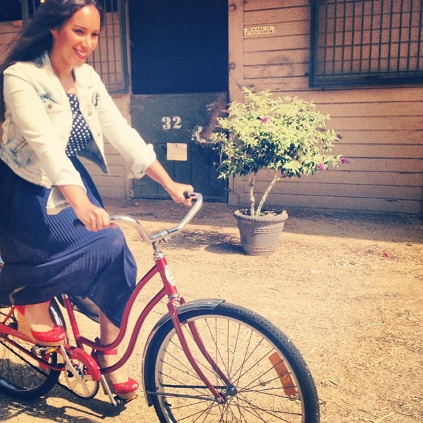 Leona Lewis sent this photo of herself riding a bike. Source: Instagram user horse_shoe_peace