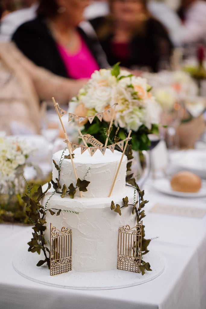 """Decorate your cake with greenery and banners that say """"Mr. and Mrs.,"""" and it'll instantly be one for the books."""