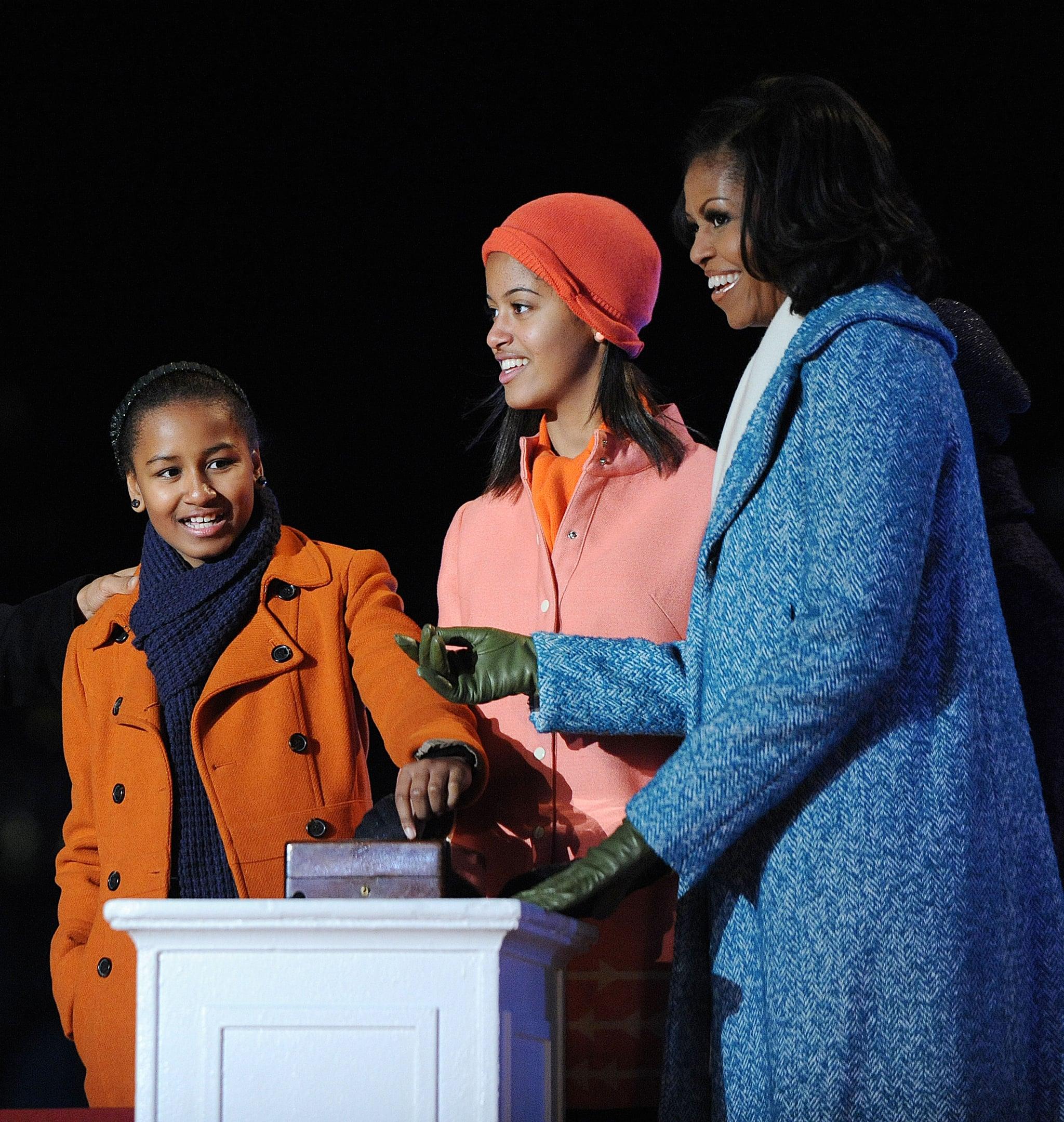 First Lady Michelle Obama With Malia and Sasha, 2012