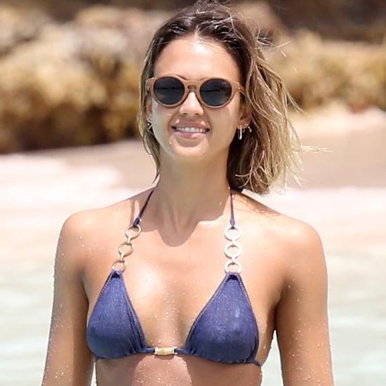 Jessica Alba in Her Bikini in the Caribbean