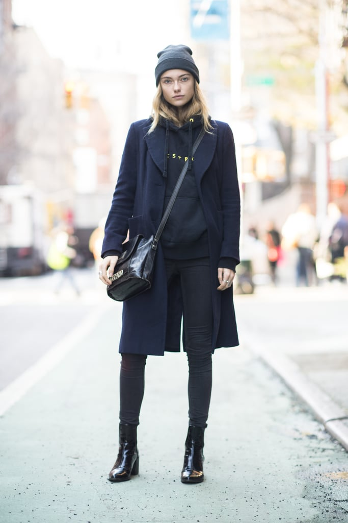 A hoodie and a beanie lend a sportier, '90s-girl effect to this Winter style.  Source: Le 21ème | Adam Katz Sinding