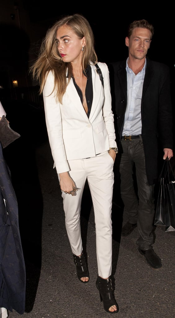 Cara Delevingne in a White Suit