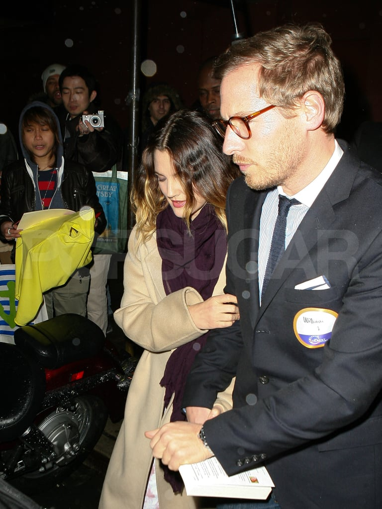 Drew Barrymore amd fiancé Will Kopelman headed out after she taped an interview on The Colbert Report.