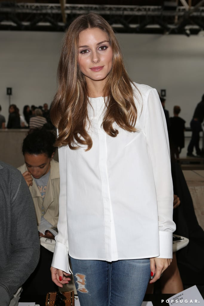 Olivia Palermo looked casual at the Véronique Leroy Womenswear show.