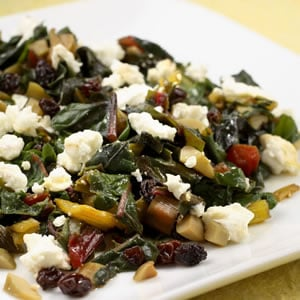 Seasonal Side: Chard with Green Olives, Currants and Goat Cheese