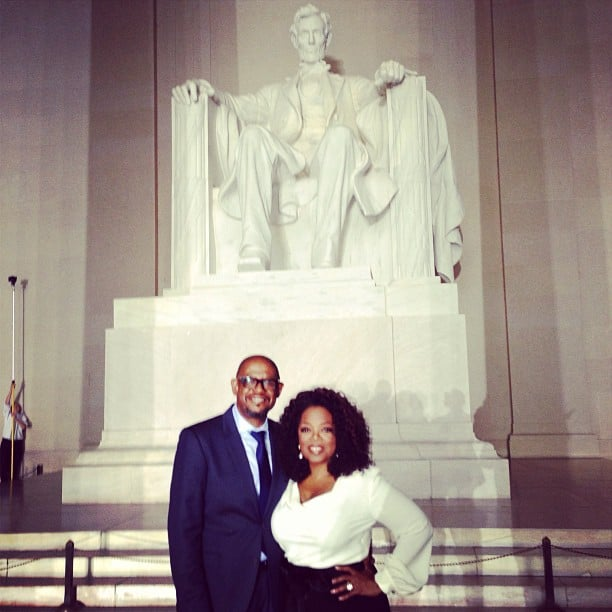 Oprah Winfrey and Forest Whitaker posed in front of the Lincoln Memorial. Source: Instagram user oprah