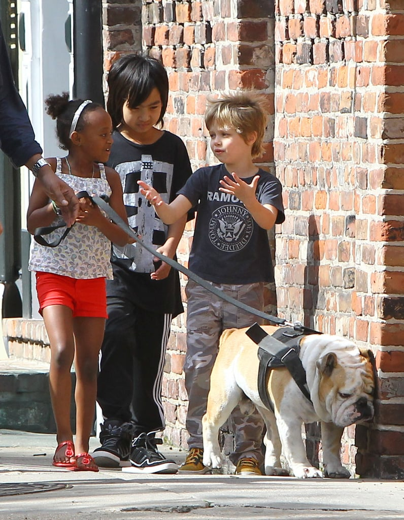 Brad Pitt Takes His Motorcycle For a NOLA Spin While the Kids Play With Jacques
