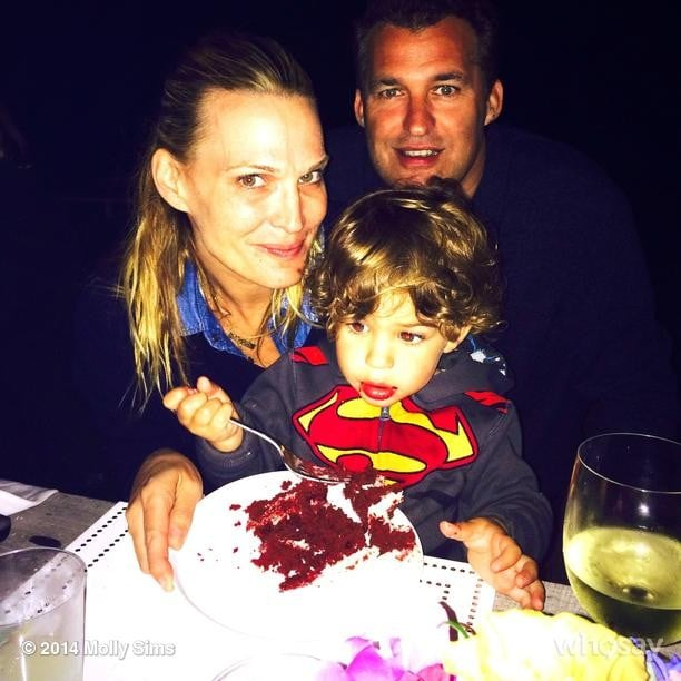 Molly Sims celebrated her birthday with her boys — Brooks and Scott Stuber — and some red velvet cake. Source: Instagram user mollybsims