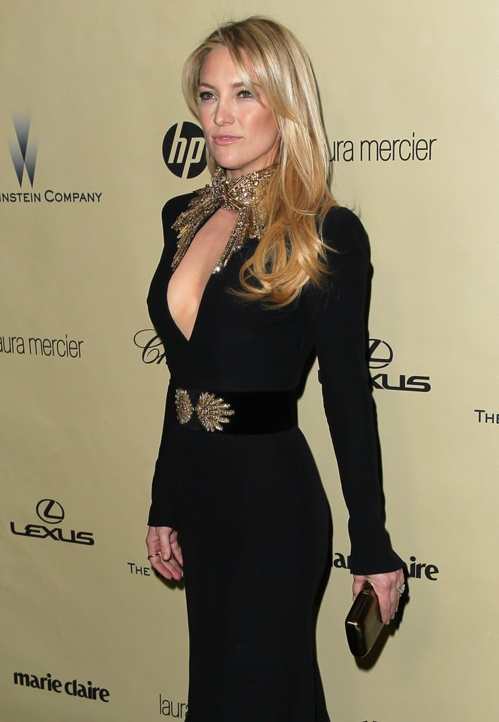 Kate Hudson made a stellar fashion statement in her plunging Alexander McQueen gown Sunday night at the Golden Globes.