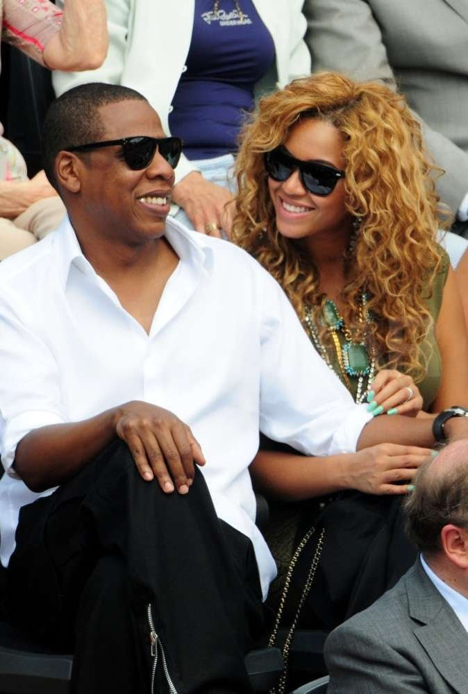 Tennis fans Jay-Z and Beyoncé attended the June 2010 French Open at Roland Garros tennis stadium in Paris, France.