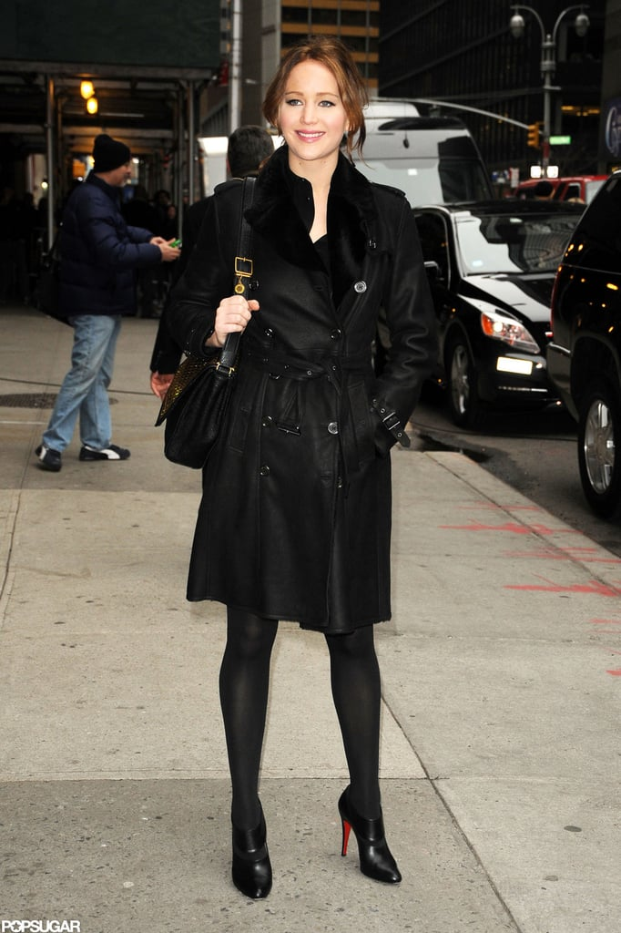 Jennifer Lawrence smiled as she headed into Late Show with David Letterman in NYC.