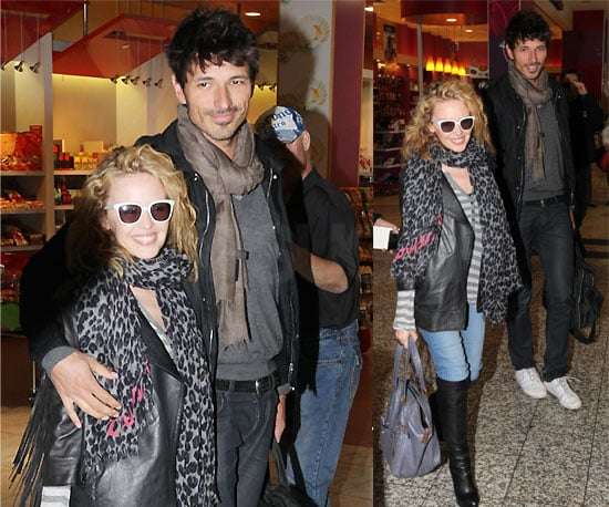 Pictures of Kylie Minogue and Andres Velencoso at Melbourne Airport, Kylie On Cover Of Marie Claire Australia