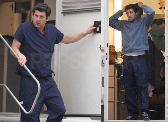 Photos of Patrick Dempsey and Ellen Pompeo on the Set of Grey's Anatomy in LA