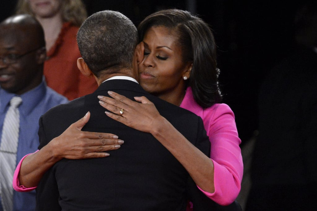 Michelle and Barack embraced after the second presidential debate in New York.
