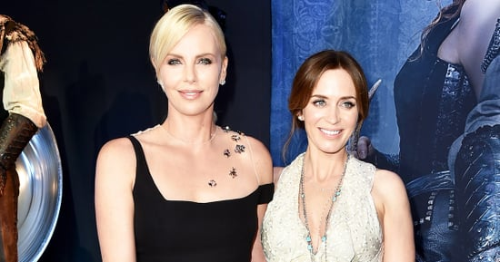 Charlize Theron Throws Emily Blunt a Baby Shower With a Baby-Blue Cake