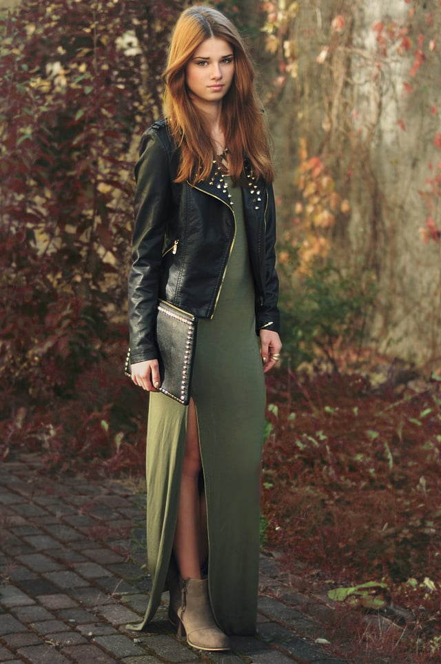 Make your maxi work for Fall in an on-trend military hue and with moody seasonal accents and layers. Source: Lookbook.nu