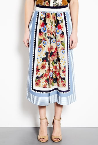 Mother of Pearl Decoy Flowers Stripe Silk Crepe Culottes