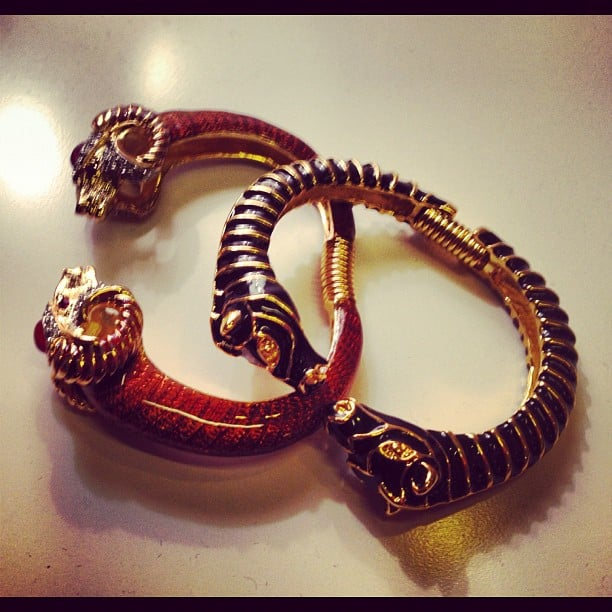 These animal-inspired bangles from Kenneth Jay Lane's exclusive collection with Gilt Groupe are the perfect arm candy.