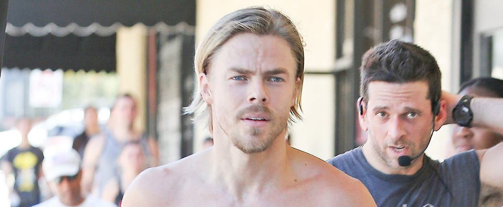 Derek Hough Ditches His Shirt For a Run in LA — and We're Not Complaining