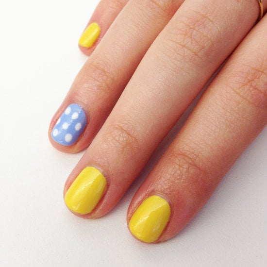 This simple yellow-and-blue nail art has a sunny look thanks to the complementing color combination.