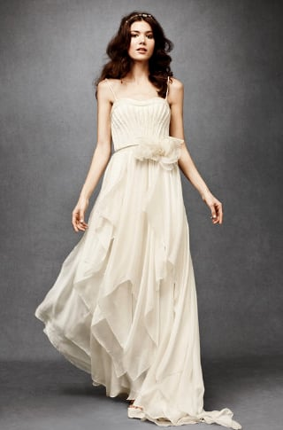 The fitted bodice is offset with a little more volume on the skirt, which makes for a flattering silhouette and a gorgeous, goddess-like feel.  BHLDN Cascading Goddess Gown ($1,600)